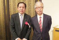 Mr Shoji Saraya (left) and Prof. R. Yamamoto (the chief juror) at the award ceremony